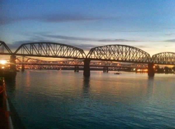 Ohio River Bridges in Louisville at Night Taken from Galt House with iPhone