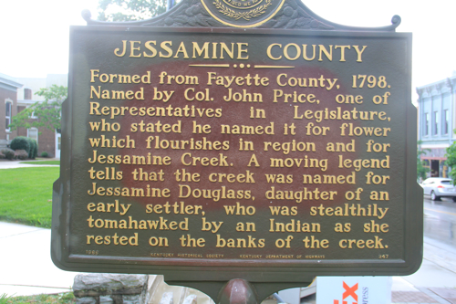 Jessamine County Historical Marker Was the county named for a flower or settler's daughter tomahawked by Indians?