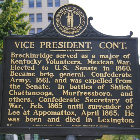 Back side of Historical Marker for Vice President John C. Breckinridge at Old Courthouse in Lexington, KY
