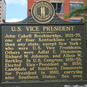 Historical Marker to Vice President John C. Breckinridge from Kentucky Located Outside Old Limestone Fayette County Courthouse