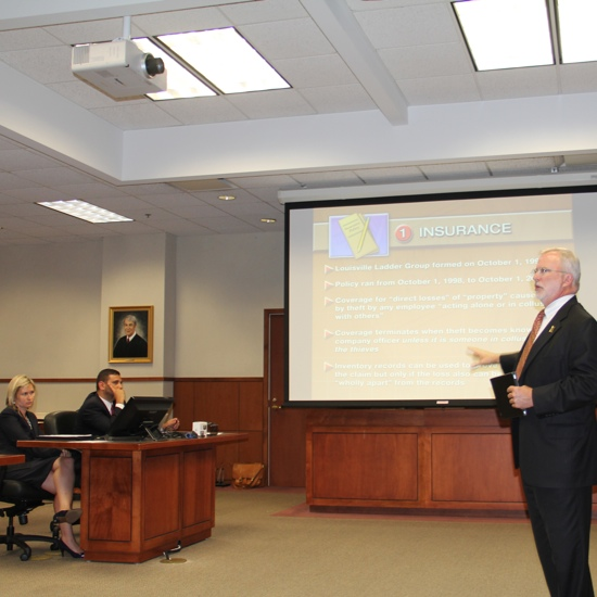 Louisville Attorney John Tate Demonstrating Use of New Technology for Jury Presentation Louisville, Kentucky 2013