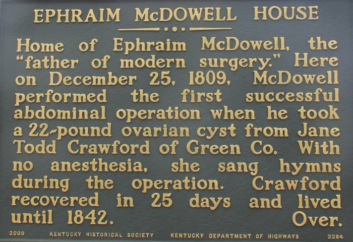 Dr. Ephraim McDowell, Danville,Kentucky marker in front of his home. Picture of home next post.
