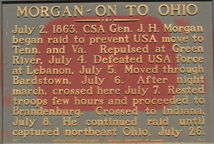 Historical marker in Shepherdsville marking the failure of Civil War General John Hunt Morgan's incursion to destroy the L and N Bridge.  For more info, then click below for David Strange's article from 2006 in the Bullitt County Museum Register -  http://www.bullittcountyhistory.com/bchistory/civilwar.html