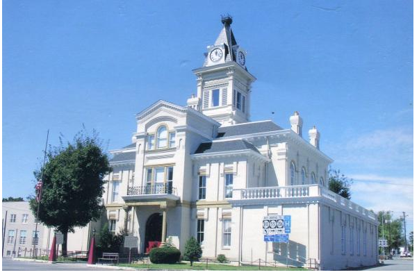 Adair Court House, built 1886 but with enlarged portion.  Image provided courtesy of Keith Vincent - www.CourtHouseHistory.com.