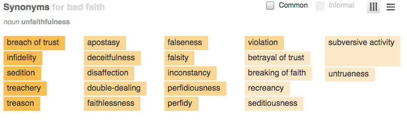 Bad faith synonyms in a non-legal context should help provide context for this delict.