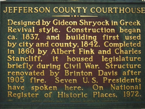 Historical Marker in front of Jefferson County Court House, Louisville, Kentucky.  Photo by MLS.
