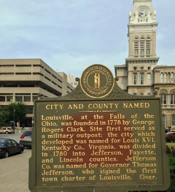 Louisville - Brandeis Hall of Justice, City Hall, and Historical Marker.  Photo by Mike Stevens using iPhone 5 in HDR format.