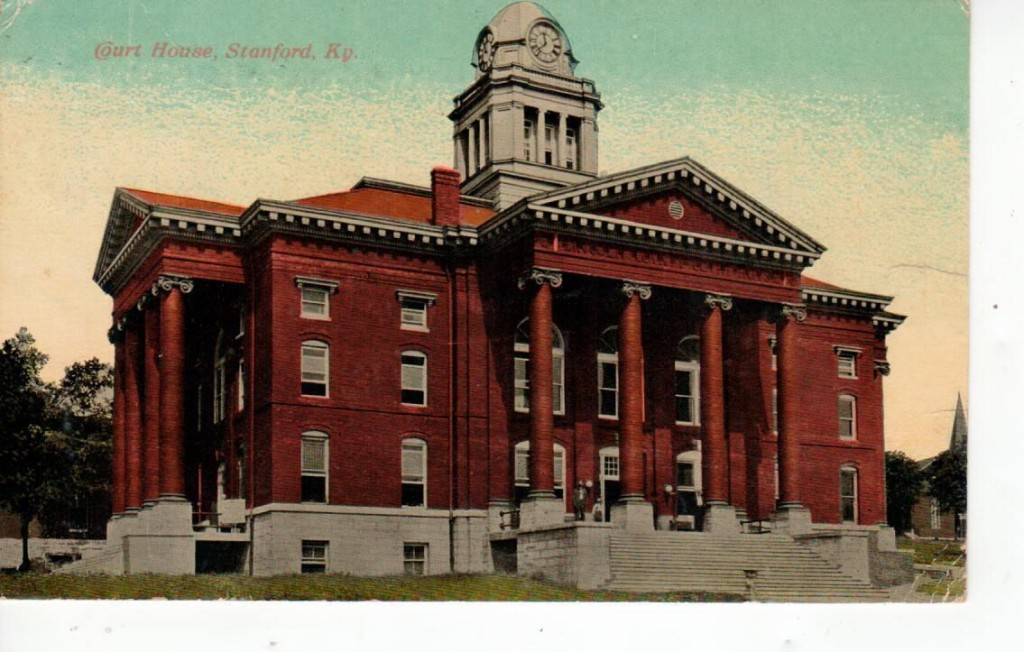 Post card of Lincoln County Court House in Stanford, Kentucky built in 1909. Stanford, Built 1909, The architect was Milburn, Heister & Co., The contractor was F. Krueger & Sons. Frank Pierce Milburn (1868–1926) was a prolific architect of the late 19th and early 20th centuries. While Milburn designed commercial buildings and residences, his practice was primarily focused on public buildings, particularly courthouses and legislative buildings. Milburn was a native of Bowling Green, Kentucky who practiced as an architect in Louisville from 1884 to 1889; Kenova, West Virginia 1890-1895; Charlotte, North Carolina; Columbia, South Carolina; and Washington, D.C. after 1904. From 1902 Milburn was architect for the Southern Railway.[1] Milburn pioneered a new approach to the marketing of architectural services, publishing sponsored books of his work, placing advertisements in trade publications, entering competitions and moving his office to suit available opportunities.[2] This resulted in work in every Southern state apart from Mississippi. Milburn was particularly successful in obtaining commissions for significant public buildings, ranging from county courthouses to state capitols. Milburn did significant work at the South Carolina State House and the old Florida Capitol, and unsuccessfully competed for work on the Arkansas Capitol.[
