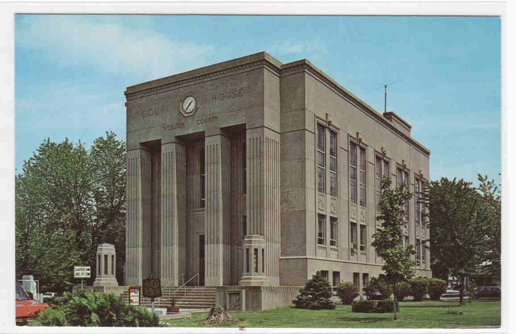 Webster County Court House, Dixon, Kentucky. Dixon, Built 1939, Architect- Lawrence Casner, Contractor - Russell Petrie