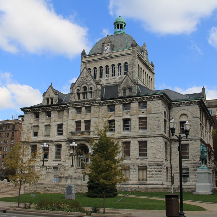 Fifth Courthouse for Fayette County, Lexington, Kentucky. Construction began in 1898 on the same site as three earlier courthouses at a cost of $187,181. It is now pending renovation at a projected cost of $30 million.