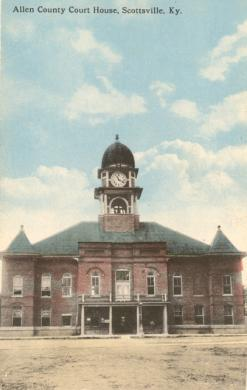 Second courthouse in Allen County, Scottsville, Kentucky. Built in 1903. The brick two-story Victorian style had arched windows topped by an enormous cupola in an Italianate style and from the Victorian era. In 1967, it was demolished to speed up traffic flow around the downtown square. The old bell was saved and was placed in the City-County Building. However, there have been two courthouses since then, and I am curious if the old bell has been prominently place in the current structure. If anyone knows, or has a picture of it, then please share. This postcard image is courtesy of CourtHouseHistory.com.