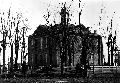 Second Butler County Courthouse. Built in 1873 under the administration of Judge Thomas C. Carson. Two story Italianate design with a hexagonal cupola. Replaced in 1975 by the current colonial style courthouse.