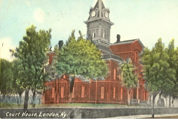 Second Laurel County Courthouse.  Completed in 1885.  Louisville architects H.P. McDonald; built by John W. Mullins at cost of $16,350.  This courthouse was destroyed by fire on Dec. 9, 1958.