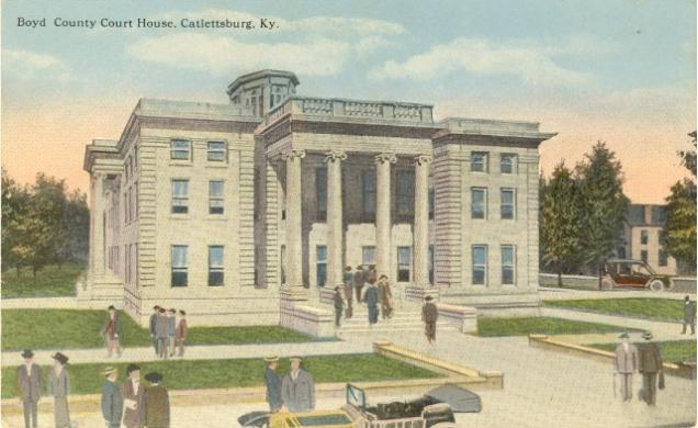Second Boyd County Courthouse. Located in Catlettsburg, Kentucky. Construction began in 1910, finished in 1912. Frank Milburn, architect from Columbia, SC, design was influenced by Beaux Art. Milburn designed several other Kentucky Courthouses. Built using Indiana limestone. Distinction of being the First Kentucky courthouse to have air conditioning. Image used courtesy of Keith Vincent, www.CourtHouseHistory.com