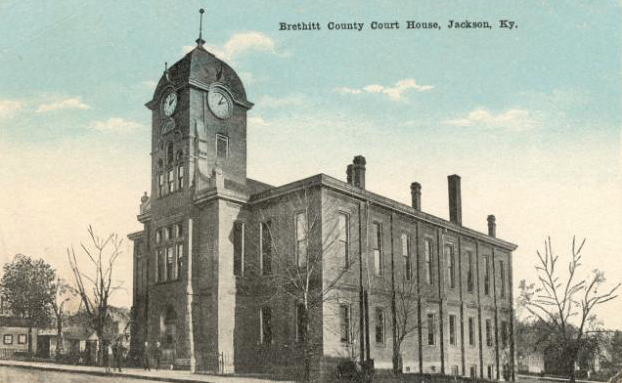 Third Breathitt County Courthouse. Located in Jackson, Kentucky. Two-story brick Victorian structure was built in 1876-77, and was remodeled first in 1899 and later in 1912. Clock tower added in 1912 remodeling. Condemned and dismantled in 1958. Image of postcard courtesy of Keith Vincent, www.CourtHouseHistory.com.